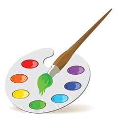 Palette and paintbrush vector image