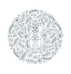 pattern with squirrel and flowers vector image