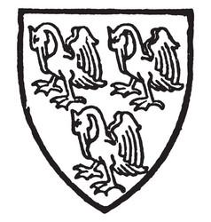 Pelham bore azure three pelicans silver vintage vector