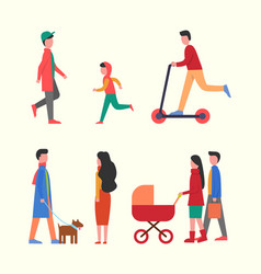 people walking together with pram family strolls vector image