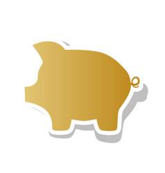 pig money bank sign golden gradient icon vector image