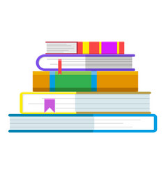 pile books with hardcovers and bookmarks vector image