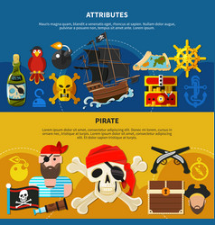 pirate cartoon banner set vector image