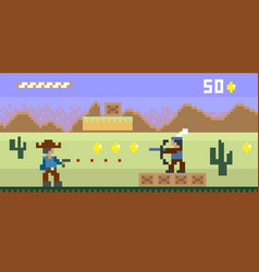 pixel art western style shooter video game vector image