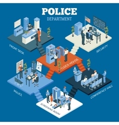 Police Department Isometric Concept vector