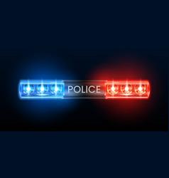 Police siren lights beacon flasher policeman car vector