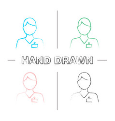 Receptionist hand drawn icons set vector