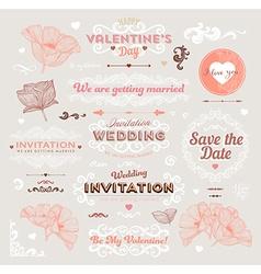 Retro Valentine and Wedding Icon Set vector