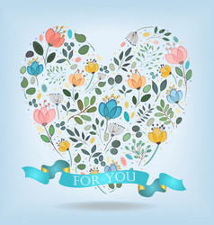 Romantic heart with flowers banner and text vector