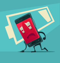 Sad unhappy tired smart phone with low battery vector