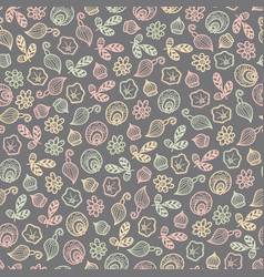 seamless pattern of fantasy flowers vector image
