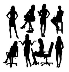 Secretary in office silhouettes vector