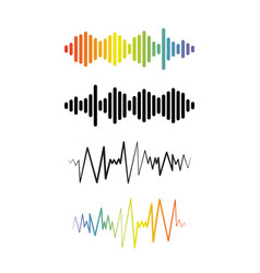 set audio wave logos pulse music players vector image
