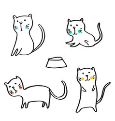 set funny cats cute hand drawn doodle kittens vector image
