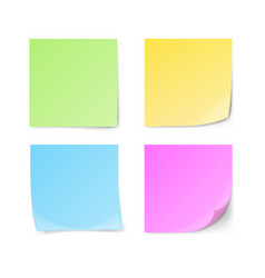 Set green yellow blue violet sticky notes vector
