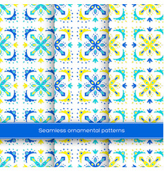 set of seamless ornamental patterns traditional vector image