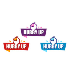 Set ribbon hurry up color speech bubble label vector