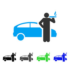 smoking taxi driver flat icon vector image