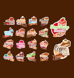 Stickers of pastry desserts and cakes vector