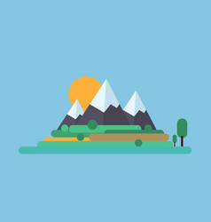 Summer landscape mountain snowy peak and green vector