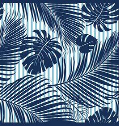 Summer navy blue tropical forest leaves bright vector