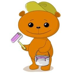 Teddy bear house painter vector