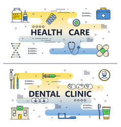 Thin line medical poster banner templates vector