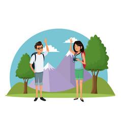 traveler couple mountain landscape vacation vector image