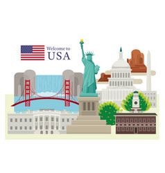 united states america usa landmarks vector image