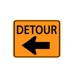 Usa traffic road signs detour to the left vector