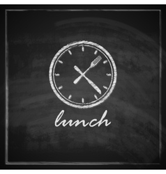 vintage with clock and cutlery on blackboard vector image