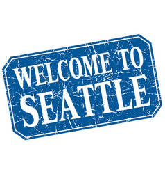 Welcome to seattle blue square grunge stamp vector