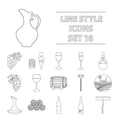 wine production set icons in outline style big vector image