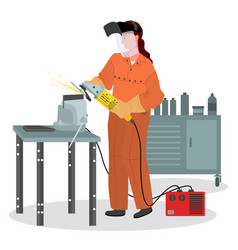 Woman working with industrial equipment female vector