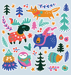 woodland stickers set with cozy animals vector image