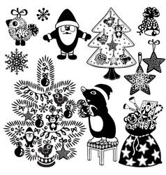 christmas set black white vector image