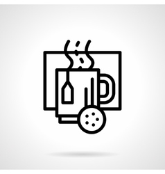 Cup with hot drink black line icon vector image