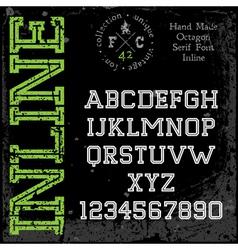 Handmade retro font slab serif inline type vector