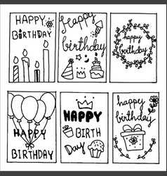 happy birthday party cards set lettering text vector image