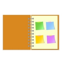 Open notebook with stickers vector image