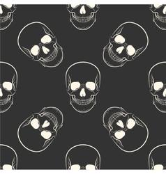 seamless retro pattern skull vector image vector image