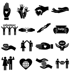 Volunteer help icons set vector image