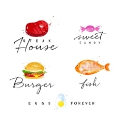 Watercolor label burger vector image vector image