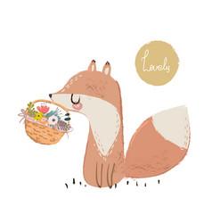 cute summer fox vector image