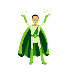 Ecological green superhero man standing with his vector