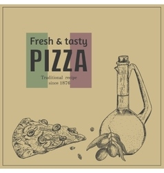 Ink hand drawn pizza package box template vector image vector image