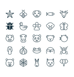 nature icons set collection of bear moth claw vector image vector image