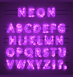 neon banner text neon font city color purple vector image