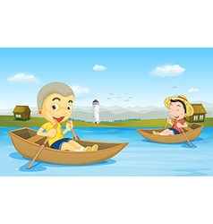 Two boys rowing boat in the lake vector image vector image