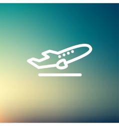 Airplane takeoff thin line icon vector image
